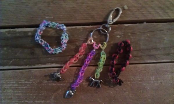 Loom bag hanger with charms, loom bands, loom with beads loom with charms