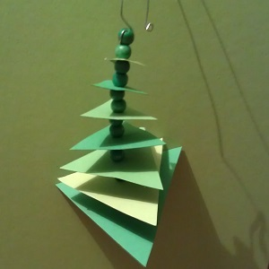 Christmas tree branches ornaments paper