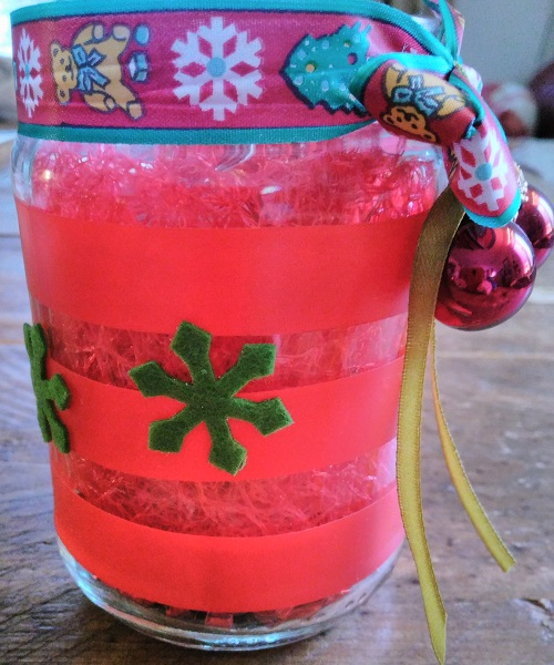 Christmas light jar with tape